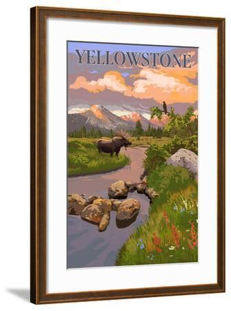 Yellowstone National Park - Moose and Meadow Scene-Lantern Press-Framed Art Print