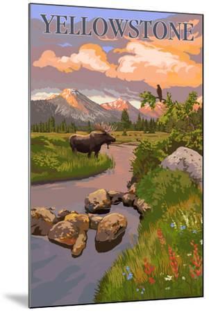 Yellowstone National Park - Moose and Meadow Scene-Lantern Press-Mounted Art Print