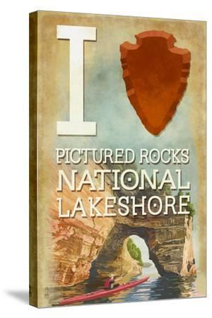 I Heart Pictured Rocks National Lakeshore, Michigan-Lantern Press-Stretched Canvas Print