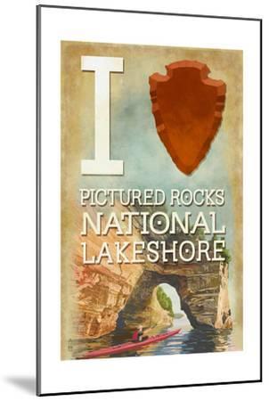 I Heart Pictured Rocks National Lakeshore, Michigan-Lantern Press-Mounted Art Print