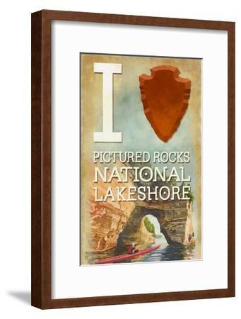 I Heart Pictured Rocks National Lakeshore, Michigan-Lantern Press-Framed Art Print