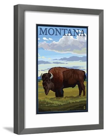 Montana - Bison Scene-Lantern Press-Framed Art Print