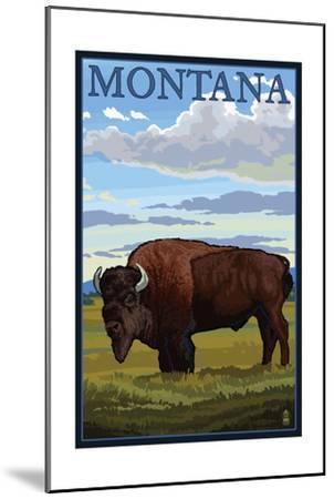 Montana - Bison Scene-Lantern Press-Mounted Art Print