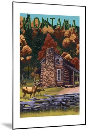 Montana - Deer Family and Cabin Scene-Lantern Press-Mounted Art Print