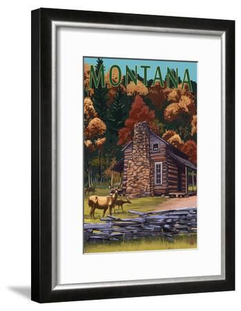 Montana - Deer Family and Cabin Scene-Lantern Press-Framed Art Print