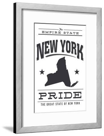 New York State Pride (Black)-Lantern Press-Framed Art Print