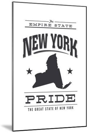 New York State Pride (Black)-Lantern Press-Mounted Art Print