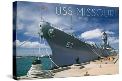 USS Missouri - Dock View-Lantern Press-Stretched Canvas Print
