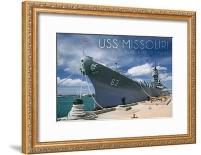 USS Missouri - Dock View-Lantern Press-Framed Art Print