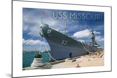 USS Missouri - Dock View-Lantern Press-Mounted Art Print