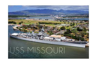 USS Missouri - Aerial Dock View-Lantern Press-Framed Art Print