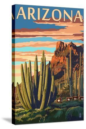 Arizona - Organ Pipe Cactus-Lantern Press-Stretched Canvas Print