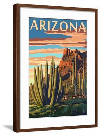 Arizona - Organ Pipe Cactus-Lantern Press-Framed Art Print