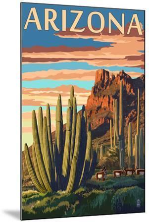Arizona - Organ Pipe Cactus-Lantern Press-Mounted Art Print