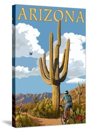 Arizona - Bicycling Scene-Lantern Press-Stretched Canvas Print