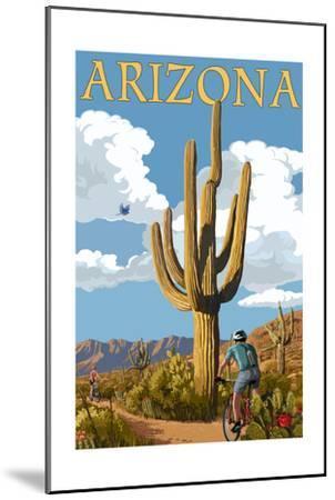 Arizona - Bicycling Scene-Lantern Press-Mounted Art Print