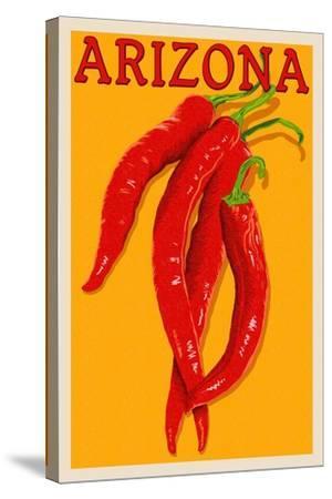 Arizona - Red Chili - Letterpress-Lantern Press-Stretched Canvas Print