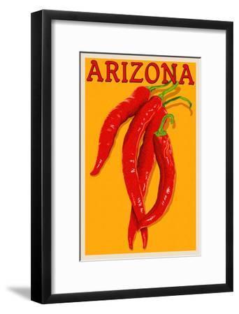 Arizona - Red Chili - Letterpress-Lantern Press-Framed Art Print
