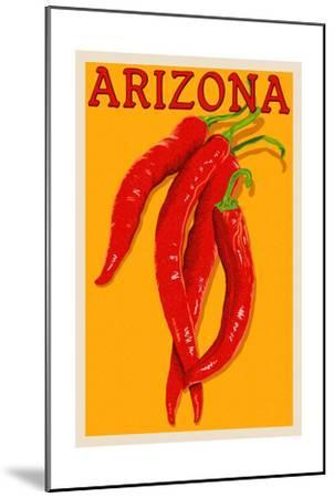 Arizona - Red Chili - Letterpress-Lantern Press-Mounted Art Print