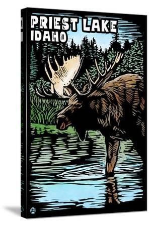 Priest Lake, Idaho - Moose Scratchboard-Lantern Press-Stretched Canvas Print