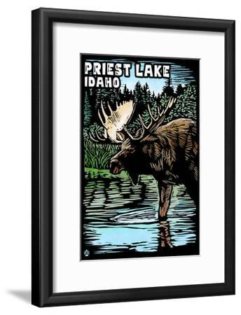 Priest Lake, Idaho - Moose Scratchboard-Lantern Press-Framed Art Print