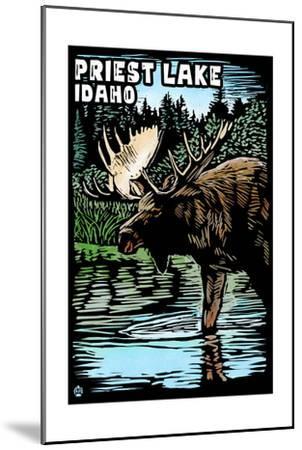 Priest Lake, Idaho - Moose Scratchboard-Lantern Press-Mounted Art Print