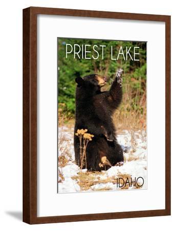 Priest Lake, Idaho - Bear Playing-Lantern Press-Framed Art Print