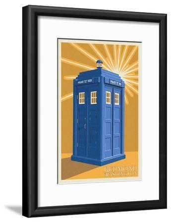 Redmond, Washington - British Police Call Box - Letterpress-Lantern Press-Framed Art Print
