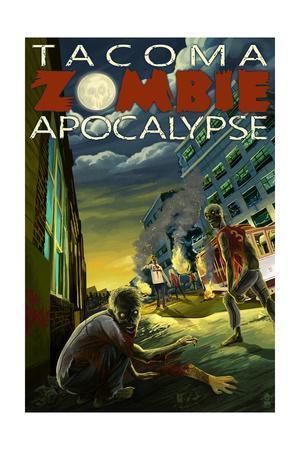 Tacoma, Washington - Zombie Apocalypse-Lantern Press-Framed Art Print