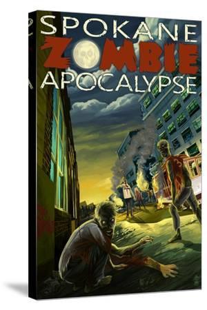 Spokane, Washington - Zombie Apocalypse-Lantern Press-Stretched Canvas Print