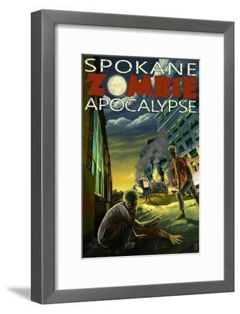 Spokane, Washington - Zombie Apocalypse-Lantern Press-Framed Art Print