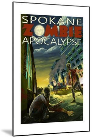 Spokane, Washington - Zombie Apocalypse-Lantern Press-Mounted Art Print