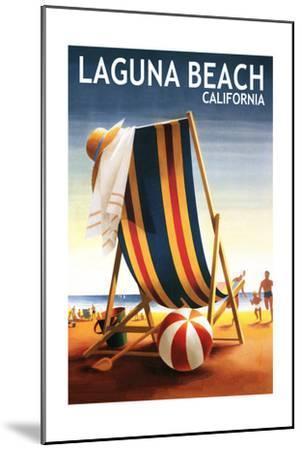 Laguna Beach, California - Beach Chair and Ball-Lantern Press-Mounted Art Print