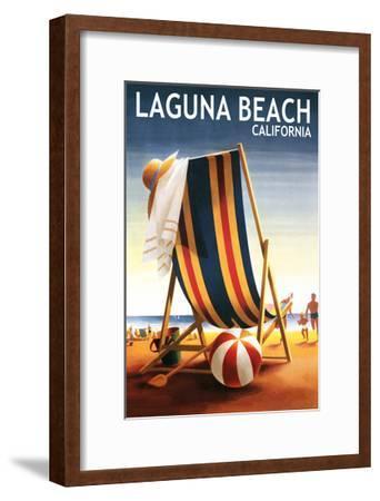 Laguna Beach, California - Beach Chair and Ball-Lantern Press-Framed Art Print