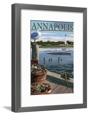 Annapolis, Maryland - Blue Crab and Oysters on Dock-Lantern Press-Framed Art Print