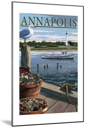 Annapolis, Maryland - Blue Crab and Oysters on Dock-Lantern Press-Mounted Art Print