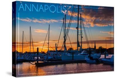 Annapolis, Maryland - Sailboats at Sunset-Lantern Press-Stretched Canvas Print