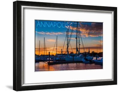 Annapolis, Maryland - Sailboats at Sunset-Lantern Press-Framed Art Print