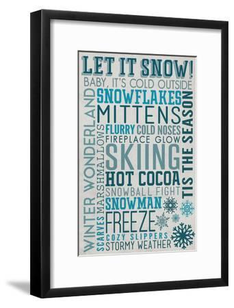 Let it Snow Typography-Lantern Press-Framed Art Print