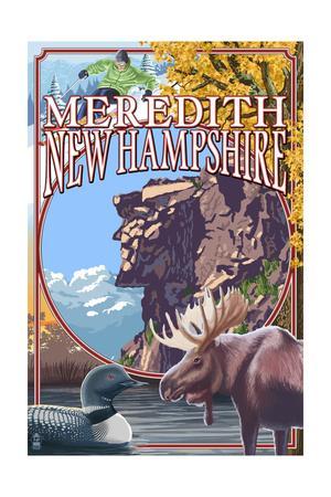 Meredith, New Hampshire - Montage-Lantern Press-Framed Art Print