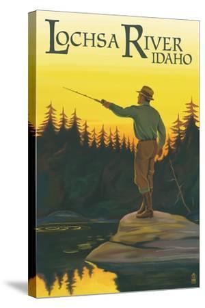 Lochsa River, Idaho - Fly Fishing Scene-Lantern Press-Stretched Canvas Print