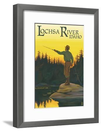 Lochsa River, Idaho - Fly Fishing Scene-Lantern Press-Framed Art Print