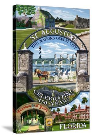 Celebrating 450 Years - St. Augustine, Florida - Montage Scenes-Lantern Press-Stretched Canvas Print