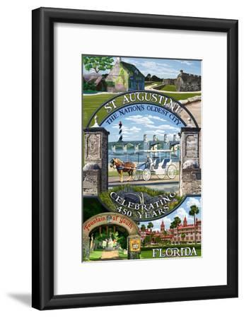Celebrating 450 Years - St. Augustine, Florida - Montage Scenes-Lantern Press-Framed Art Print