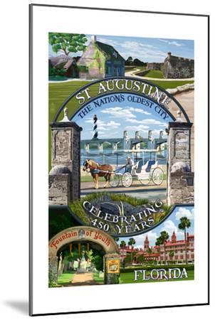 Celebrating 450 Years - St. Augustine, Florida - Montage Scenes-Lantern Press-Mounted Art Print