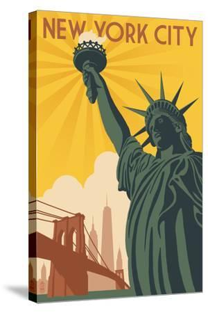 New York City, New York - Statue of Liberty and Bridge-Lantern Press-Stretched Canvas Print