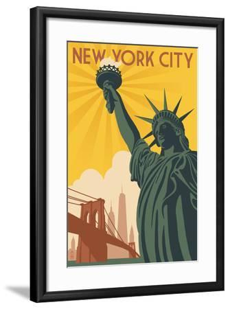 New York City, New York - Statue of Liberty and Bridge-Lantern Press-Framed Art Print