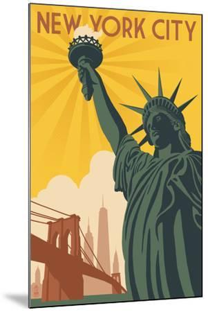 New York City, New York - Statue of Liberty and Bridge-Lantern Press-Mounted Art Print