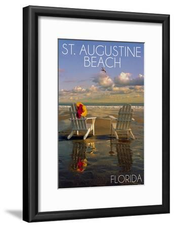 St. Augustine, Florida - Adirondack Chairs on the Beach-Lantern Press-Framed Art Print