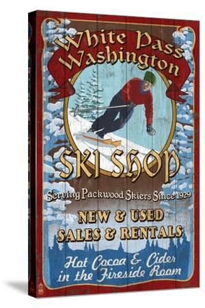 White Pass, Washington - Ski Shop Vintage Sign-Lantern Press-Stretched Canvas Print